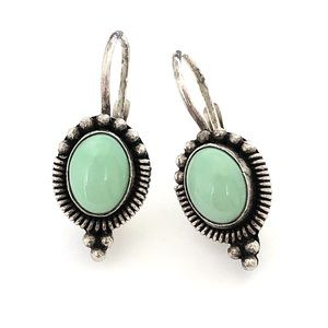 Vintage Green Turquoise Sterling Silver Earrings